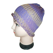 Gold Purple Mix Thick Retro Beanie Bobble Hat Bespoke Handmade #Beanie