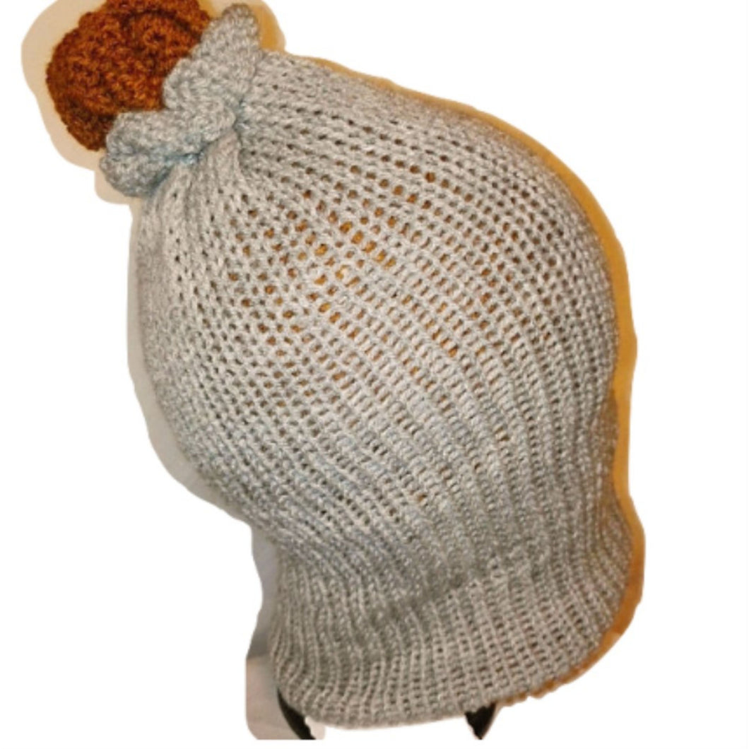 Copper Grey Retro Bobble Hat Handmade #Bobblehat by retrosheep.com