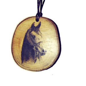 Horse Head choker Pendant Handmade Wooden Charm Natural Personalised Necklace Earrings Keyring Charms #Handmade