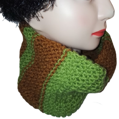 Green Brown Minecraft inspired Cowl Scarf Handmade Double Knit  #Scarf
