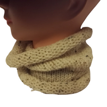 Aran Mix Cowl Neck Scarf Handmade Double Knit Retro Scarves #Scarf