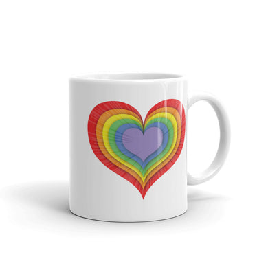 LGBT Love Heart Mug Rainbow Multi Coloured Lesbian Gay Bi sexual Trans Queer Art Tea Coffee Mugs #LGBT