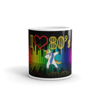 Unicorn I LOVE 80's Retro Mug Multi Colour Music synthesiser 11oz 15oz Art Gift Mugs #Retro