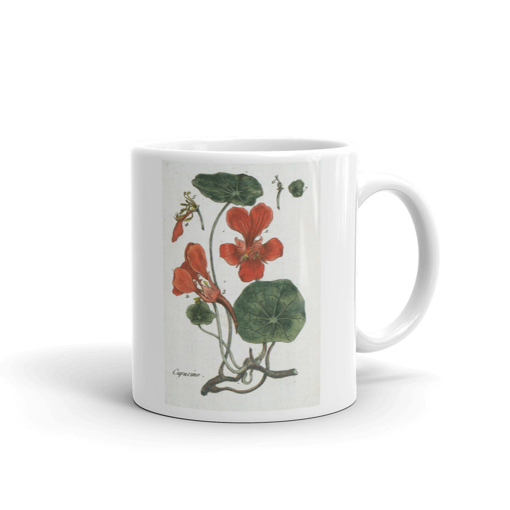 Nasturtium Flower Mug Vintage Illustration Coffee Mugs #Nasturtium
