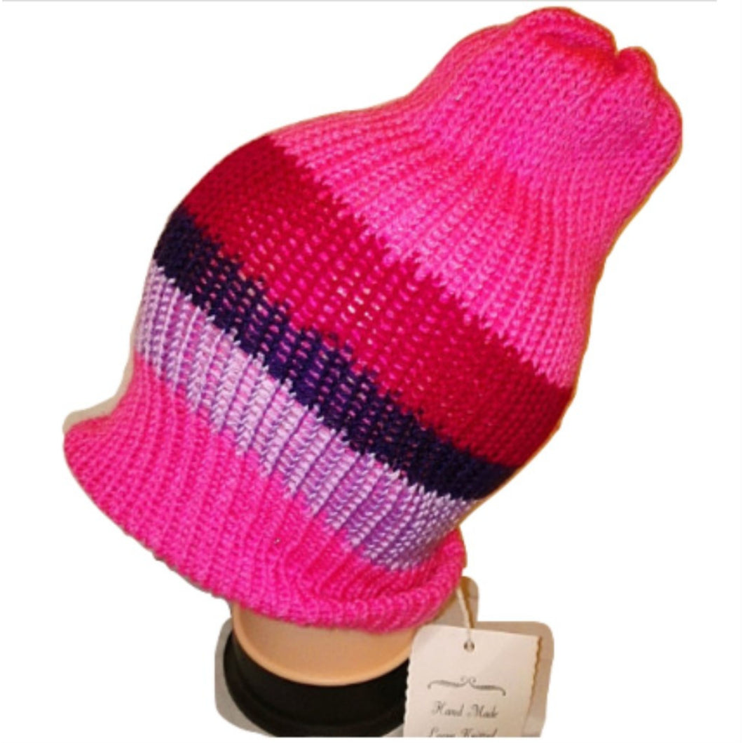 Pink Purple mix Thick Retro Beanie Bobble Hat Bespoke Handmade by Retrosheep.com #Beanie