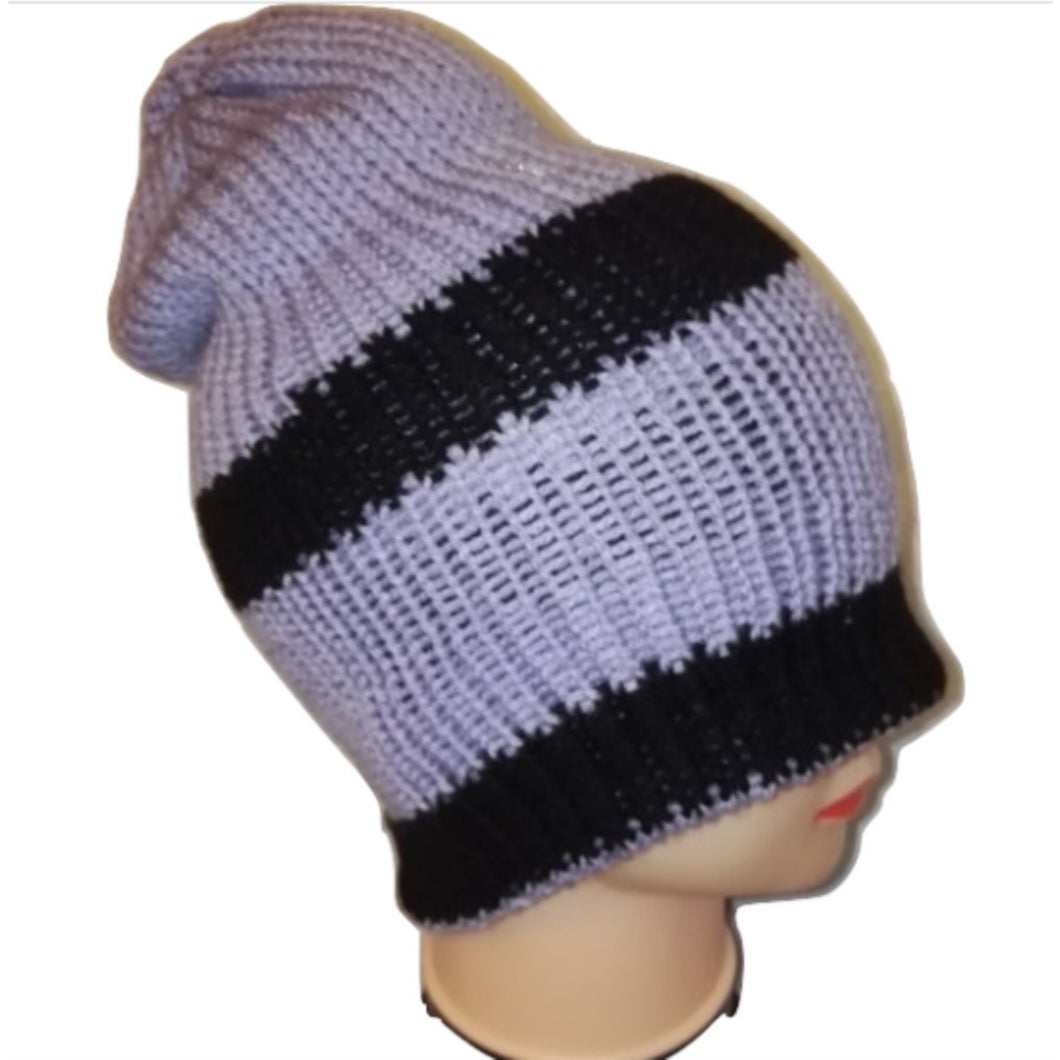 Lilac Black Salmon pink cream Thick Retro Beanie Bobble Hat Bespoke Handmade by Retrosheep.com #WinterFashion
