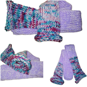 Lilac Rainbow Mix Handmade Hand Knit Wool Socks