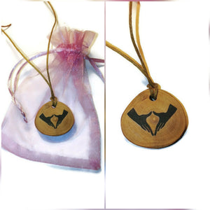Vulva Yoni Mudra Symbol Handmade Wood Necklace Earrings Keyring #Vulva