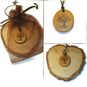 Yggdrasil Tree of Life Necklace Pendant Wooden Charm Natural Necklace Earrings Keyring Charms #TreeofLife #Yggdrasil