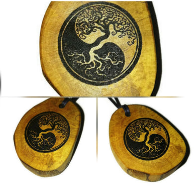 Yin Yang Earth Tree of Life Pendant Choker Wooden Charm Natural Necklace Earrings Keyring Charms #YinYang