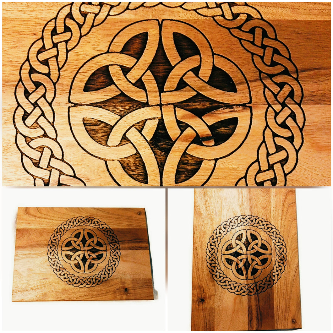 Celtic Knot Wood Acacia Cheese Bread Chopping Board #Celtic