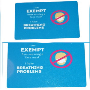 Breathing Problems Coronavirus Mask Medical Exemption Card Aluminium Personalised #Covid19
