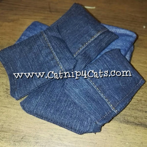 Catnip Filled Denim Upcycled Jean Cat Toy Cushion Sack  NEPETA CATARIA #CATS #CATNIP