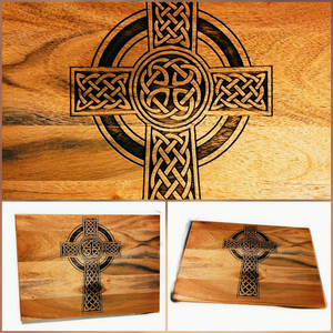 Celtic Cross Wood Acacia Cheese Bread Chopping Board #Celtic