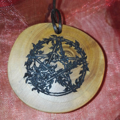 Floral Pentacle Talisman choker Pendant Handmade Wooden Charm Natural Personalised Necklace Earrings Keyring Charms #Handmade