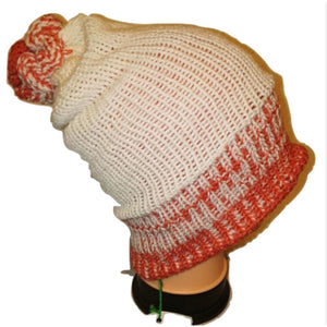 Salmon pink cream Thick Retro Beanie Bobble Hat Bespoke Handmade by Retrosheep.com #WinterFashion