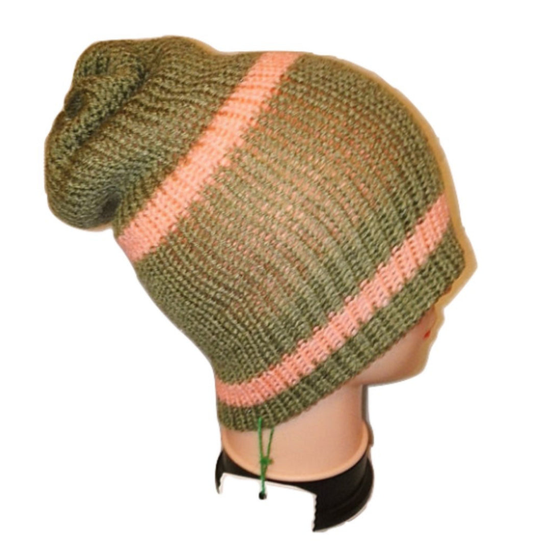 Olive Green Salmon Pink Striped Thick Retro Beanie Bobble Hat Bespoke Handmade by Retrosheep.com #Beanie