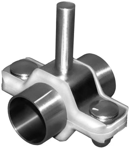 "1/2"" Tube Process Hex Stainless Tube Size Hanger, Rod Mount Assembly, 6"" Long 3/8"" OD Rod, 304, Part Number - PHH24-6R4-T050A"
