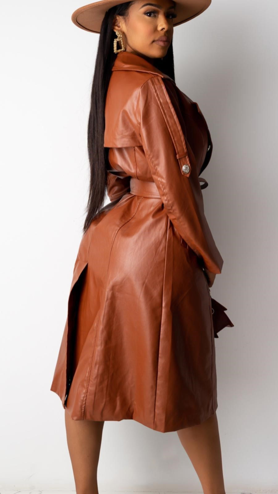 Vegan Leather Coat Dress