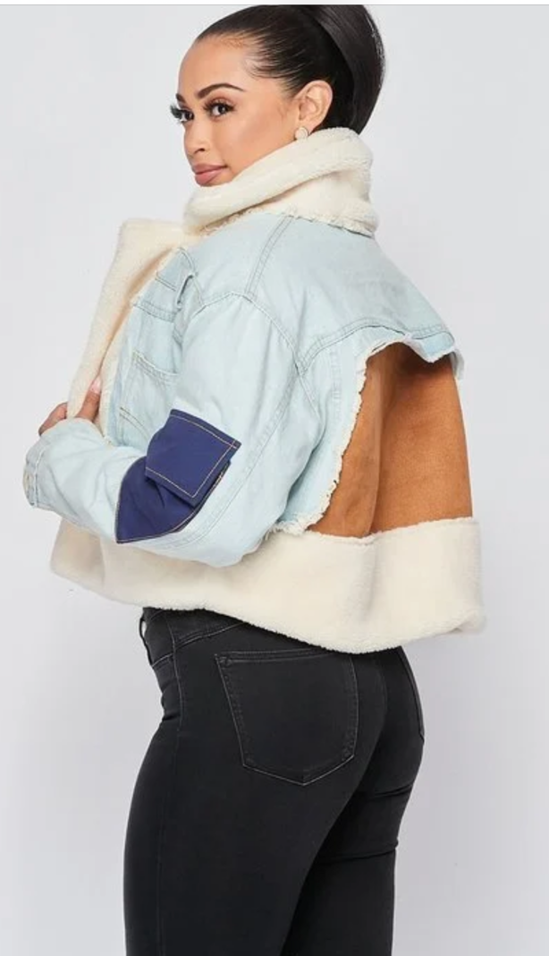 Denim Fur Block Jacket