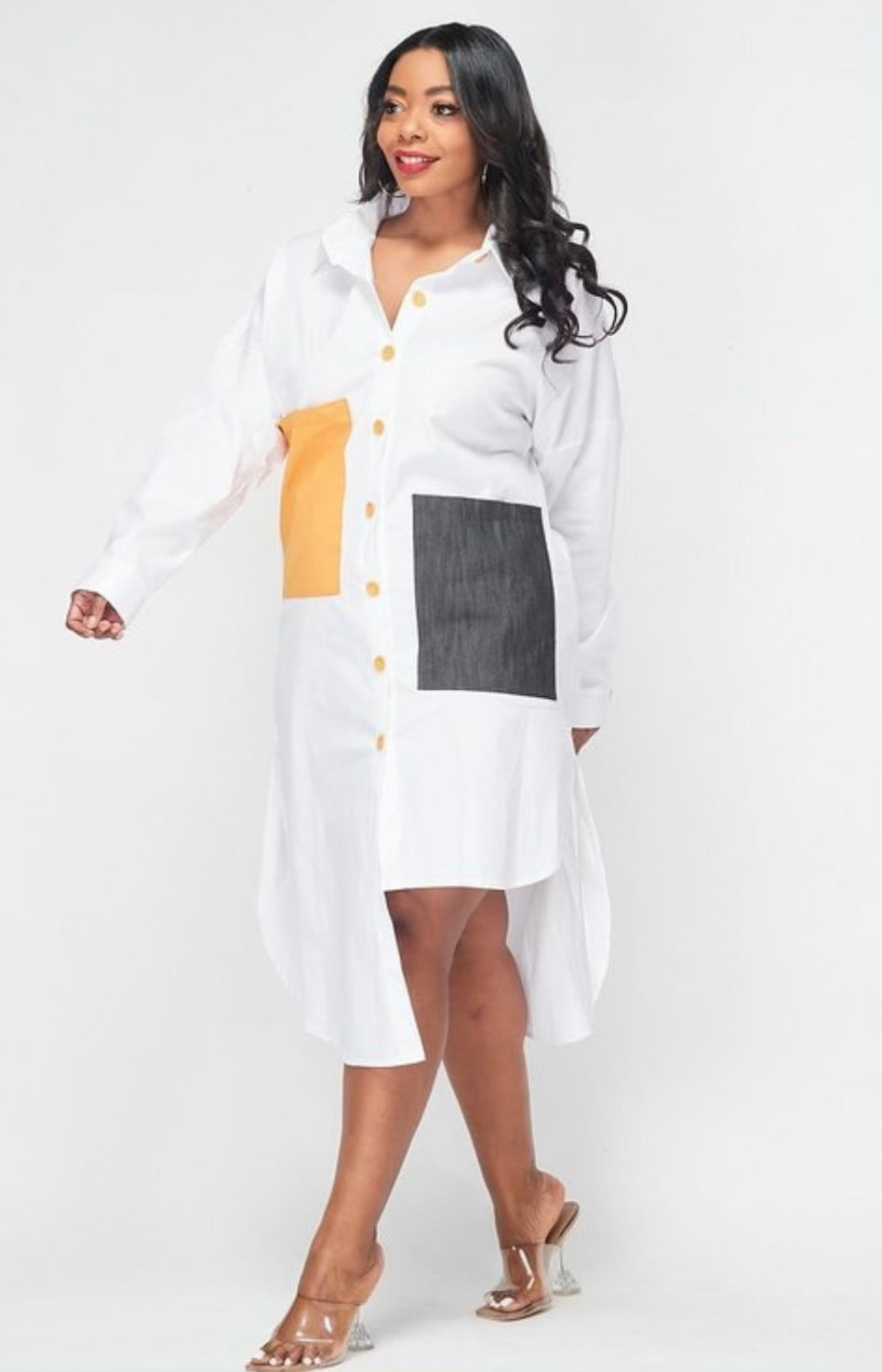 Blocked Shirt Dress