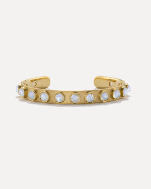 Rainbow Moonstone Classic Cuff 18K Yellow Gold, Petite - Irene Neuwirth