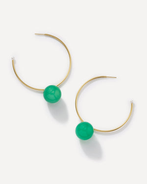 Chrysoprase Gumball Hoops 18K Yellow Gold, Large - Irene Neuwirth