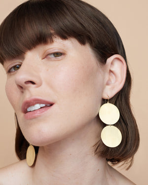 Yellow Gold 18K Double Circle Earrings - Irene Neuwirth