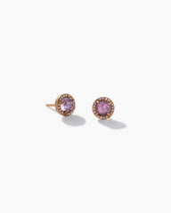 Rose of France Classic Studs 18K Rose Gold and Diamond Pavé, Petite - Irene Neuwirth