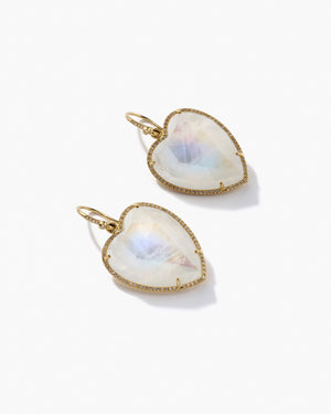 Rainbow Moonstone Love Earrings 18K Yellow Gold Diamond Pavé, Large - Ships 4/23 - Irene Neuwirth