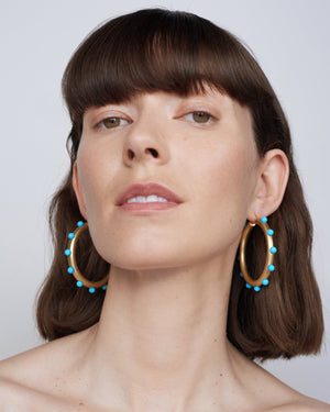Kingman Turquoise Studded Gumball Hoops 18K Yellow Gold - Irene Neuwirth