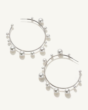 Akoya Pearl Gumball Mixed Hoops 18K White Gold Diamond Pavé, Extra Large - Irene Neuwirth