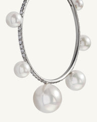 Akoya Pearl Gumball Mixed Hoops 18K White Gold Diamond Pavé, Medium - Irene Neuwirth