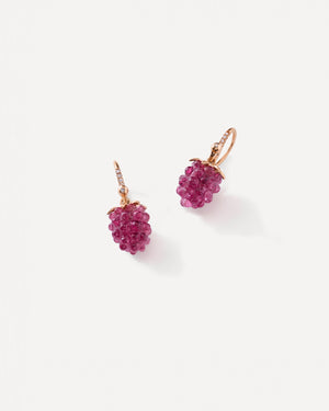 Pink Tourmaline Raspberry Earrings 18K Rose Gold - Exclusive - Irene Neuwirth