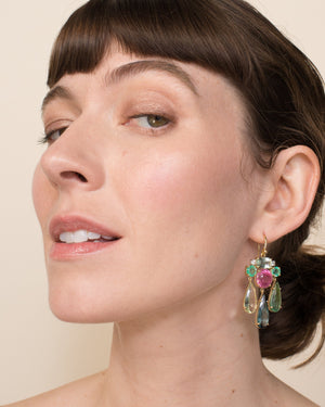 One of a Kind Beryl and Tourmaline Gemmy Gem Earrings 18K Gold - Irene Neuwirth