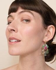 One of a Kind Beryl and Tourmaline Gemmy Gem Earrings 18K Gold - Exclusive - Irene Neuwirth