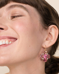One of a Kind Pink Tourmaline Gemmy Gem Cross Earrings 18K Gold - Exclusive - Irene Neuwirth