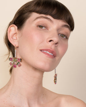 One of a Kind Watermelon Tourmaline Fan Earrings 18K Gold - Exclusive - Irene Neuwirth