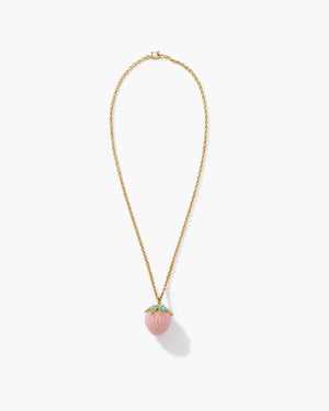 Pink Opal Strawberry Pendant Necklace 18K Yellow Gold, Large - Irene Neuwirth