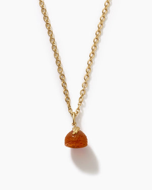 Carnelian Half Clementine Charm Necklace 18K Yellow Gold - Exclusive - Irene Neuwirth