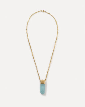 Aquamarine Crystal Necklace 18K Yellow Gold - Irene Neuwirth