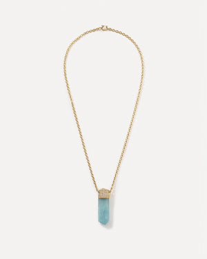 Aquamarine Crystal Necklace 18K Yellow Gold Diamond Pavé - Irene Neuwirth