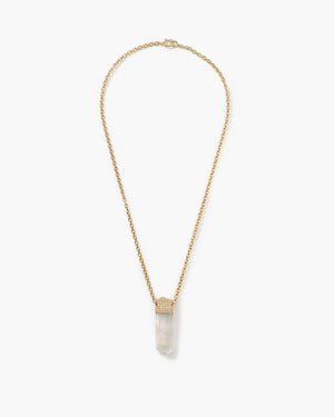 Rainbow Moonstone Crystal Necklace 18K Yellow Gold Diamond Pavé - Irene Neuwirth