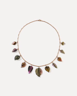 One of a Kind Tourmaline Leaves Bar Chain Necklace 18K Rose Gold - Exclusive - Irene Neuwirth