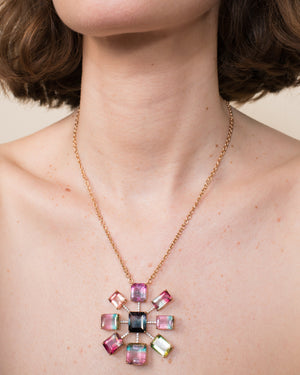 One of a Kind Tourmaline Gemmy Gem Starburst Pendant Necklace 18K Gold - Exclusive - Irene Neuwirth
