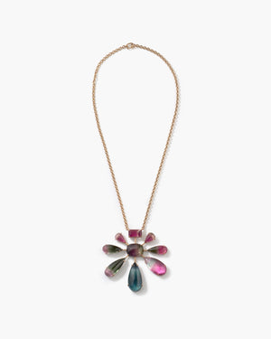 One of a Kind Tourmaline Galaxy Pendant Necklace 18K Rose Gold - Exclusive - Irene Neuwirth