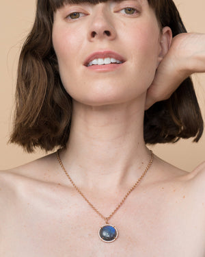 Labradorite Classic Pendant Necklace 18K Rose Gold Diamond Pavé, Large - Irene Neuwirth