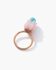 Pink Opal Lily of the Valley Ring 18K Rose Gold - Exclusive - Irene Neuwirth