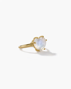 Rainbow Moonstone Ring Love 18K Yellow Gold, Medium - Irene Neuwirth