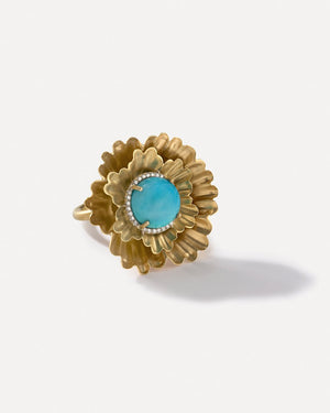 Kingman Turquoise Super Bloom Flower Ring 18K Yellow Gold Diamond Pavé - Irene Neuwirth